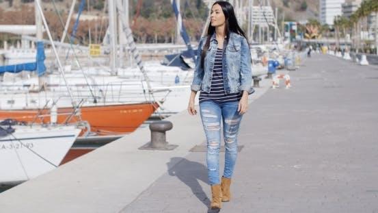 Thumbnail for Pretty Woman Strolling On a Waterfront Promenade