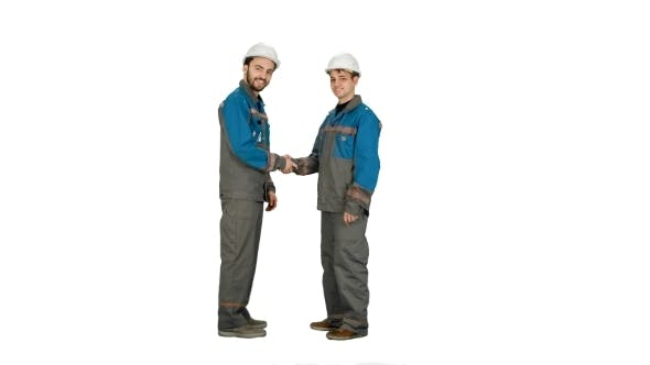 Thumbnail for Two Builder, Architects Handshaking On White Background.