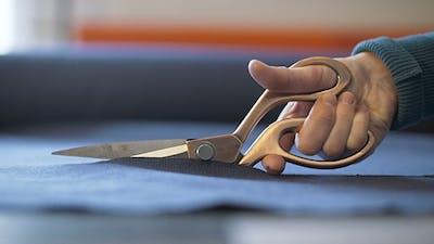 Scissors Cutting Clothing Fabric