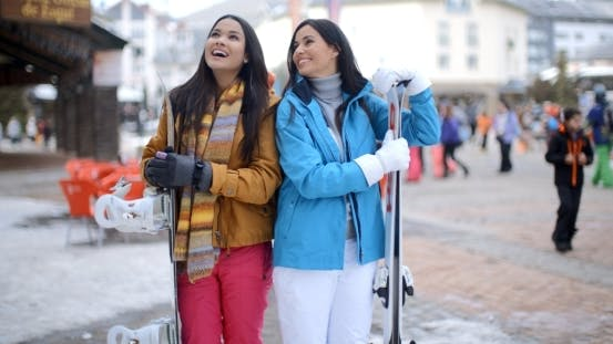 Thumbnail for Two Gorgeous Young Brunette Snowboarders