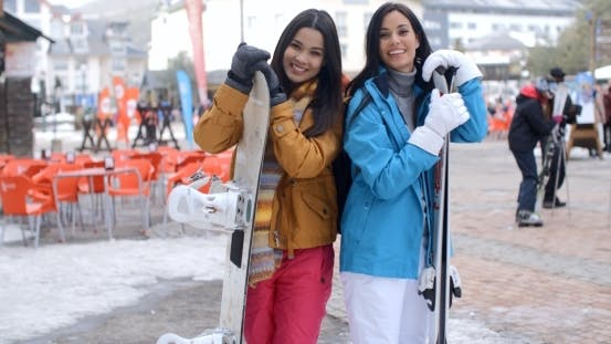 Thumbnail for Happy Female Friends At a Winter Ski Resort