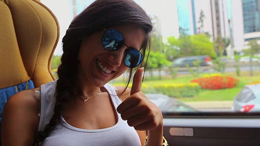Happy Woman Traveling