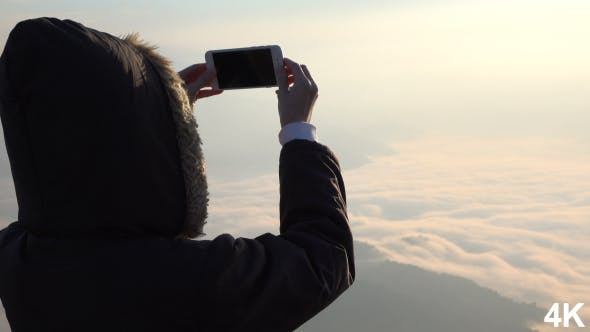 Thumbnail for Taking Picture On Smartphone At Fog Mountain