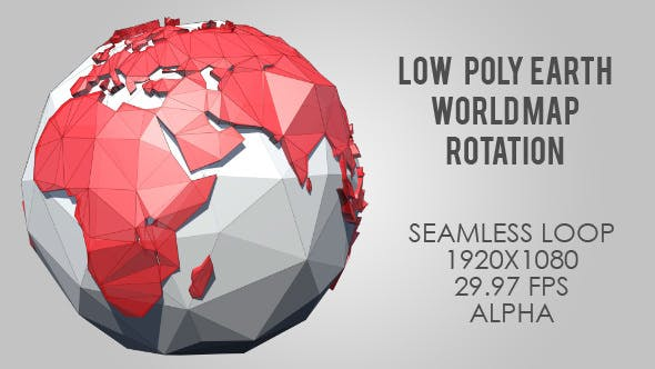Low Poly Planet Earth World Map Rotating - Red