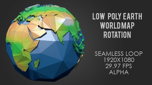 Low Poly Planet Earth World Map Rotating - Color