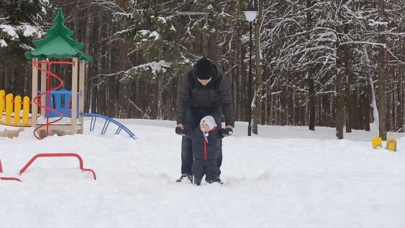 Thumbnail for Family Played On The Playground In Winter Park