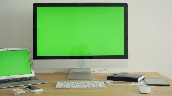 Thumbnail for PC Display With Green Screen On The Table