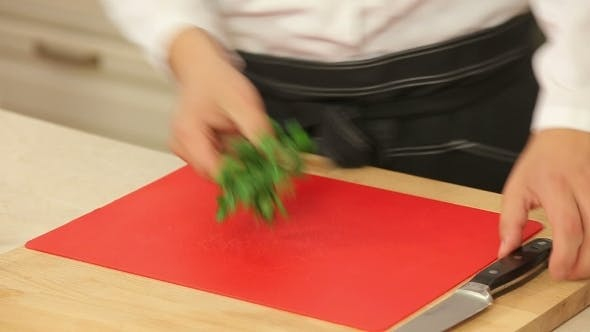 Thumbnail for Cutting Parsley In a Kitchen
