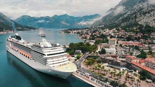 Top View of Bay with Moored Cruise Liner