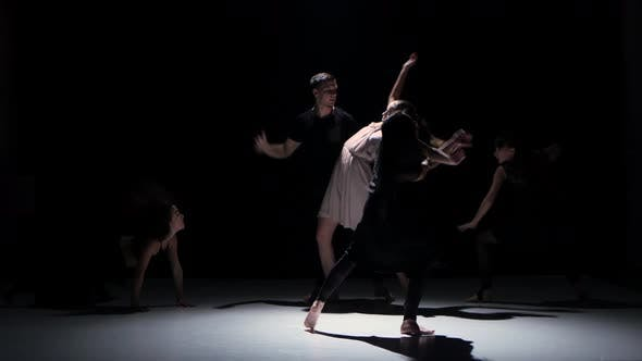 Thumbnail for Sensual Contemporary Dance Moves of Five Dancers on Black, Shadow