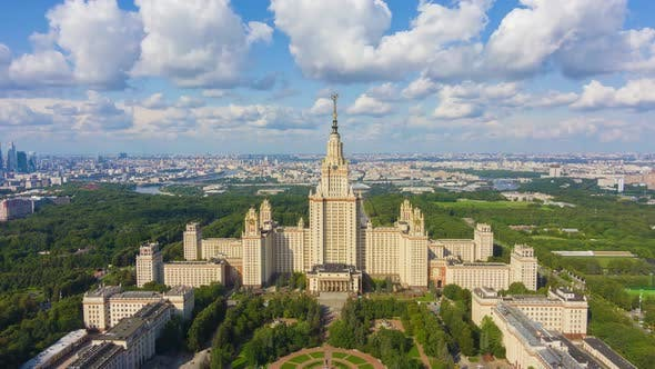 Moscow University and City Skyline at Sunny Summer Day. Aerial View