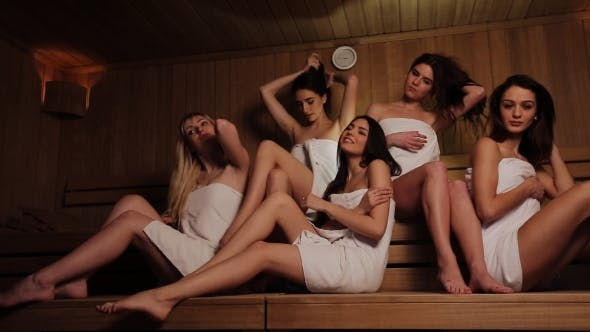 Thumbnail for Five Friends Doing Wellness In The Sauna Of a Thermal Bath