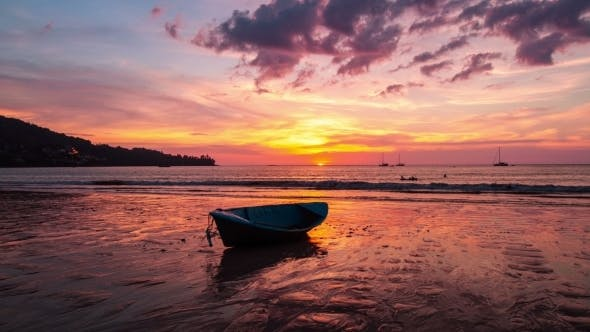 Cover Image for . Old Boat On The Beach At Sunset