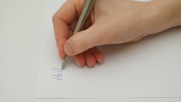 "Thumbnail for Female Hand Writes ""My Dear Friend"" On The Paper"