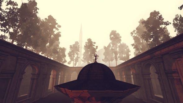 3D Moschee, Brunnen Kuppel und Garten