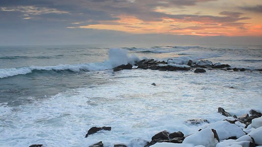 Thumbnail for Waves On Rocky Beach Before Sunrise