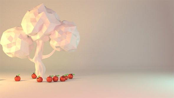 Thumbnail for 3D Red Apples Falling From Tree Animation