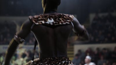 African American On The Circus's Stage Raps On The Drum