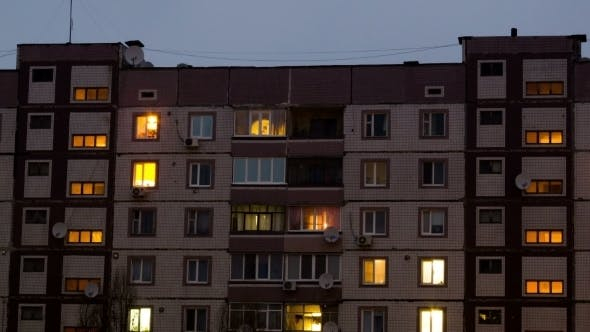 Thumbnail for Of Multistorey Building With Changing Window Lighting At Night.