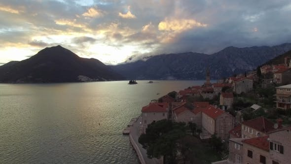 Aerial View Of Perast City In Kotor Bay On The Sunset