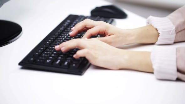 Thumbnail for Woman Hands Typing On Computer Keyboard At Office