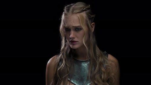 Sad Medieval Woman in Armor, Heartbroken Blonde Lady,
