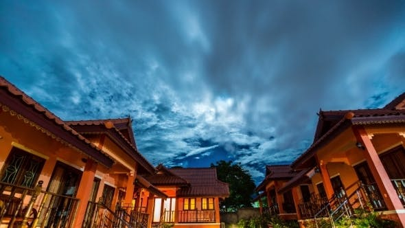 Thumbnail for Night Sky With Clouds Over The Houses, Koh Samui, Thailand