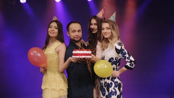 Thumbnail for Birthday With a Cake And Friends Posing In Night Club