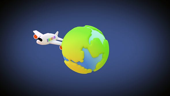 Thumbnail for Toy Plane Flying Around The World Animation