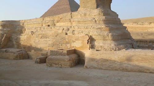 Sphinx and Cheops Pyramid in Giza Cairo Egypt