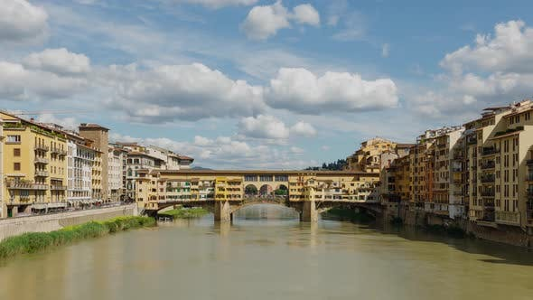 Time Lapse of the Ponte Vecchio bridge over the Arno River in Florence Italy