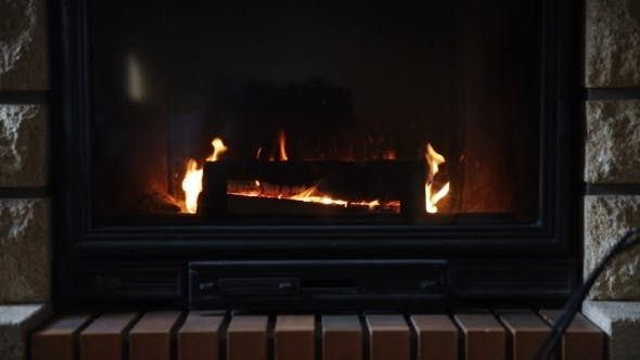 Thumbnail for Burning Fireplace At Home