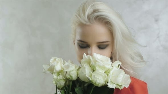 Thumbnail for Fashion Portrait Of Beautiful Blonde Woman With Flowers