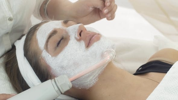 Thumbnail for Darsonvalization Girl Face With Mask In Beauty Saloon. Cosmetologist