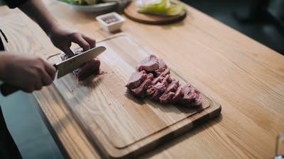 Process Of Cutting Raw Beef