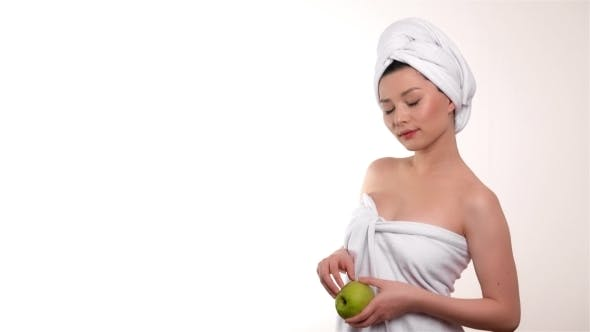 Thumbnail for Healthy Eating Woman With Apple Isolated Over White Background