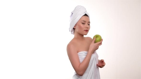 Thumbnail for Healthy Eating Woman With Apple Isolated On White Background