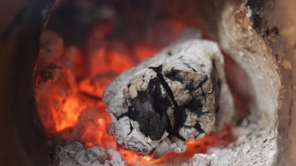 Thumbnail for Fireplace With The Smoldering Piece Of Wood