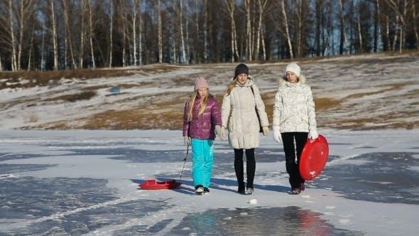 Thumbnail for Family Walking On The Frozen Lake