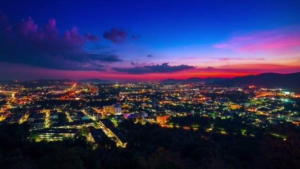 Cover Image for Sunset Over The Phuket Town, Thailand