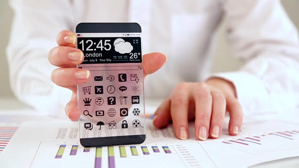 Smartphone With Transparent Screen In Human Hands