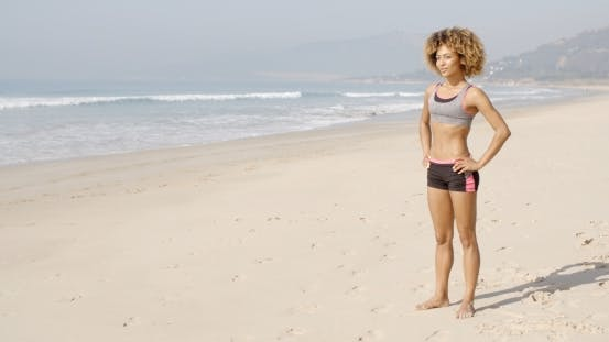 Thumbnail for Sport Woman Standing On The Beach