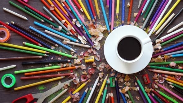 Thumbnail for Many Color Pencils In Cute Cup Or Box Isolated On The White Background