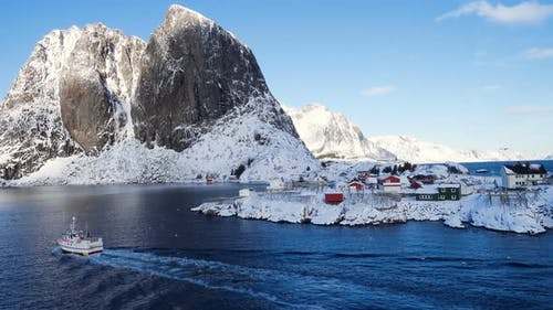 Norwegian Winter Landscape With The Multicolored Rorbu And Fishing Ships 33