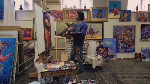 Thumbnail for The Artist Paints With Oil Painting. In The Studio, Among His Own Works.