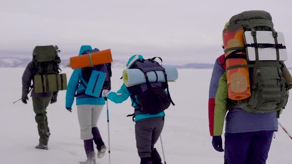 Thumbnail for Group of Tourists Is Trekking in Mountains in Winter Day, Carrying Backpacks and Pushing Off By