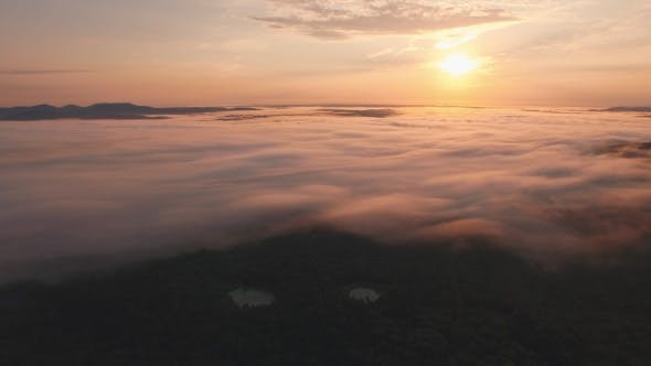 Thumbnail for Aerial of Morning Fog and Sunrise