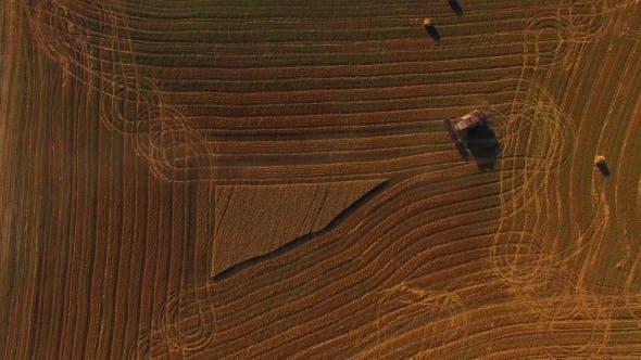 Thumbnail for Harvesting Combine Finishing Working On Buckwheat Field