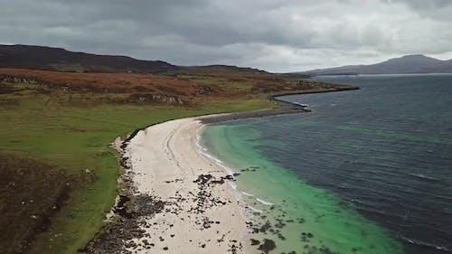 Aerial of the Clagain Coral Beach on the Isle of Skye - Scotland