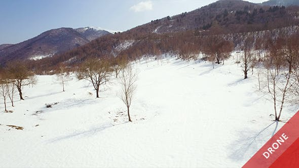 Thumbnail for Aerial View of a Snowy Valley in a Sunny Day